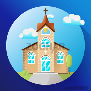 Vector church building icon flat