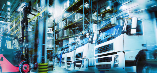 Logistics with warehouse, trucks and forklift