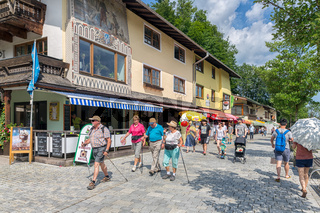 People in shopping street Schonau am Konigssee near Berchtesgaden, Germany