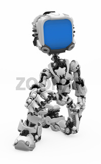 Blue Screen Robot, on One Knee