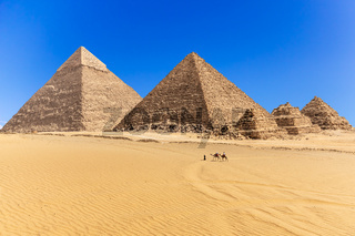 The Pyramids of Giza in the desert of Egypt