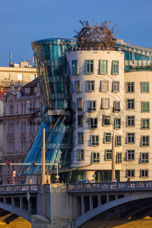 Prague, Czech Republic - November 02, 2017: Famous Dancing House in center of city