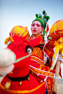 Xi''an, China-Feb 13, a folk artist performing Shehuo,Shehuo is a nonmaterial cultural heritage to celebrate the New Year.