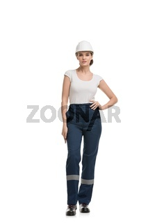Young woman in blue working clothes isolated view