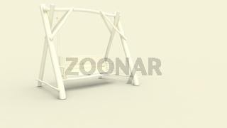 3d rendering of a wooden swing bench isolated in studio background