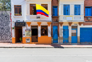 Bogota shops  in the colorful buildings of the Candelaria district