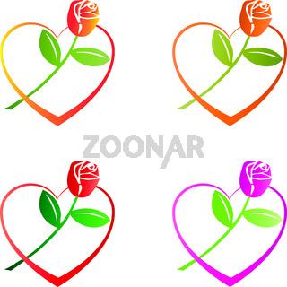 Herz, Rose, Blume, Geschenk, Logo