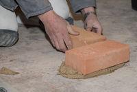 Craftsman walls brick wall - closeup bricklayer