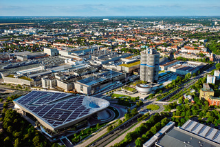 Aerial view of BMW Museum and BWM Welt and factory. Munich, Germ