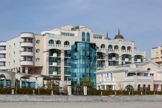 Pomorie, Bulgaria - March 07, 2018: Sunset Resort Hotel Complex Is Situated On The Seashore.