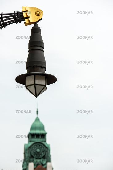Lamp in the Art Nouveau spa complex Sprudelhof, Bad Nauheim