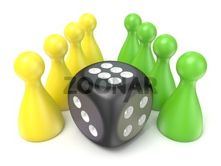 Conceptual game pawns and black dice. 3D