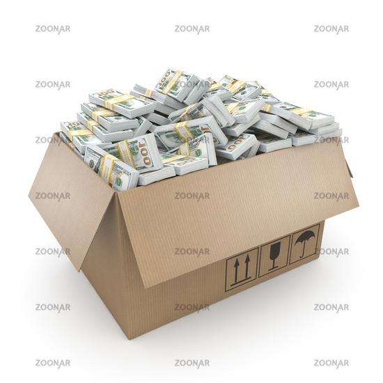3d rendering packs of US dollars