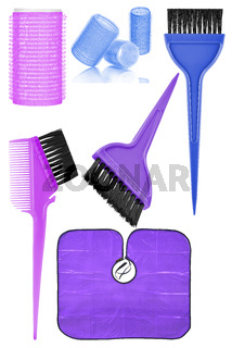 Set of six hair dyeing and styling tools and accessories: hair curlers, dyeing hair brushes and hair dyeing waterproof cape, isolated on transparent or white background