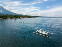 Aerial view of a traditional fishing boats in Bali, Indonesia
