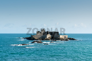 view of the small tidal island of Grand Be in the English Channel by Saint-Malo