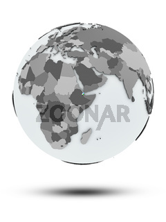 Djibouti on political globe isolated