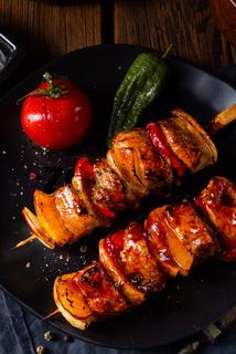 marinated kebab skewers with meat and vegetables