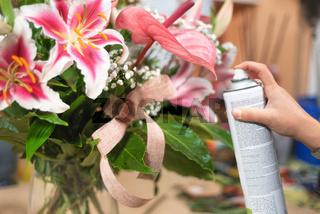 Man At Work As Florist In Flower Shop Using Spray.florist in flower shop with spray can, polishing leaves.