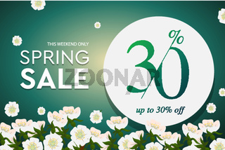 Spring sale poster, up to 30 off, vector illustration.