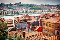 View of Porto's old town houses, the Douro river and the Port wine warehouses