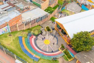 Bogota city aerial view school sports fields in Los Andes district