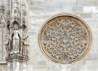 Round gothic window on the facade of the St. Stephen's cathedral, Vienna