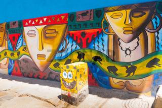 colorful murals in Raquira Colombia