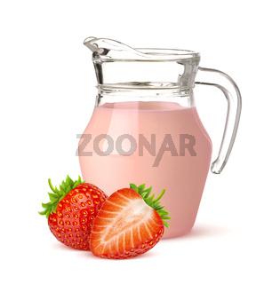 Jug of strawberry yogurt isolated on white background