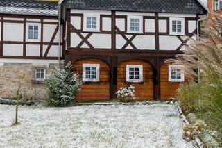 historische Umgebindehäuser in Waltersdorf Zittauer Gebirge