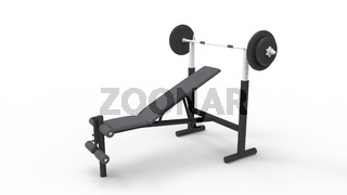 Bench press installation 3d rendering isolated in white background