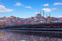 Famous Suleymaniye Mosque and the Galata Bridge, Istanbul