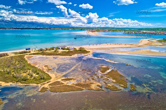 Adriatic town of Nin sandbar beach aerial view