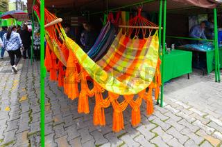 Bogota colorful hammocks for sale in Usaquen market