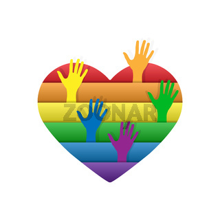 Heart in colors of LGBT people with their hands up