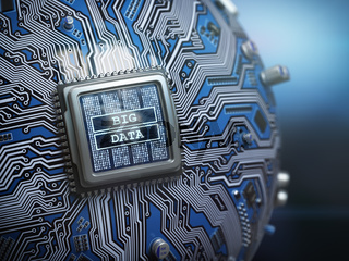 Big data concept. CPU processor with text big data on the spherical futuristic motherboard.