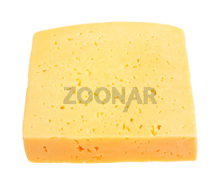 piece of yellow medium-hard cheese isolated