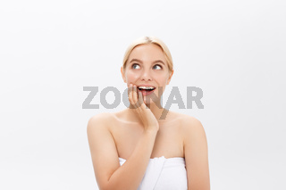 Young woman with beauty skin and beauty hairstyle over gray background