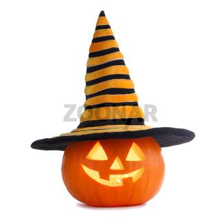 Halloween pumpkin in witches hat