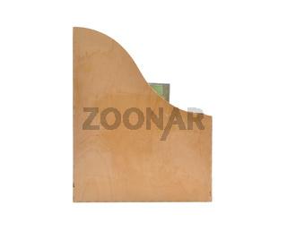 Stehsammler auf weißem Hintergrund - Wooden box for documents on white background