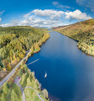 Flying through the Great Glen above Loch Oich in the scottish highlands - United Kingdom
