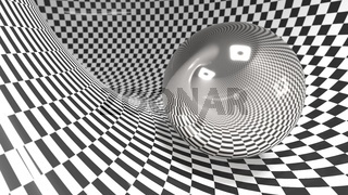 Abstract checker curved geometric background black and white colors. with reflection metall ball with eyes and smile 3d illustration