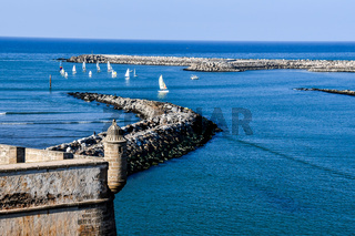pier in the sea, photo as background