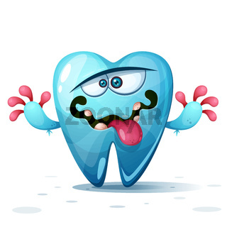 Funny, cute, crazy tooth characters. Cartoon illustration.