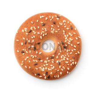 Round cookie with sesame and flaxseeds
