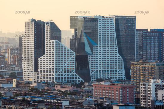 Raffles city buildings aerial view in Chengdu