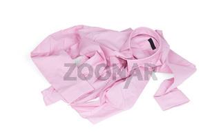 Unfolded pink man shirt on white background