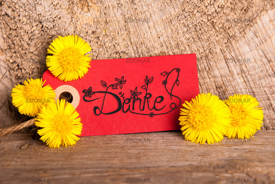 Red Label, Dandelion, Calligraphy Danke Means Thank You