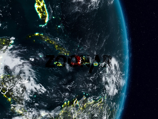 Haiti from space at night