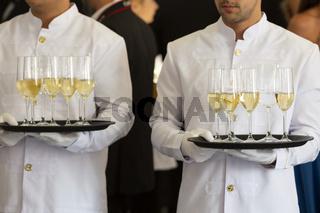 Waiters tray white wine